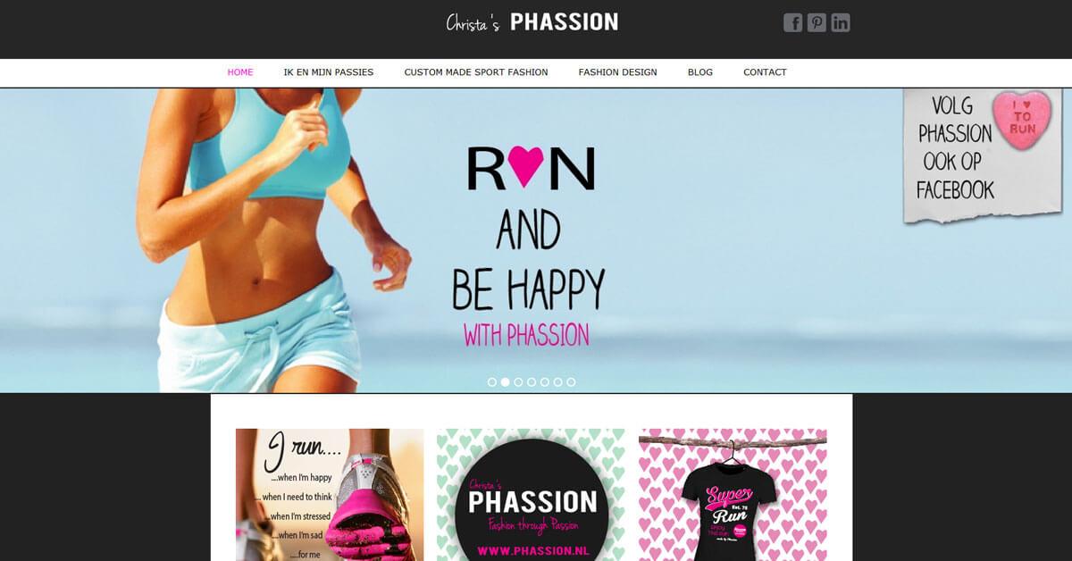Phassion website schermprint