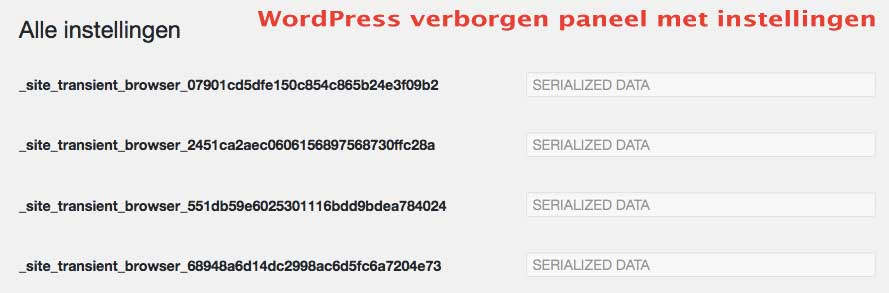 wordpress verborgen paneel instellingen