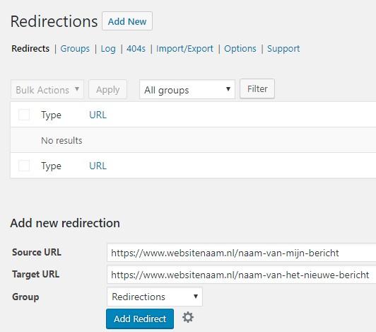 WordPress doorverwijzing maken redirect plugin