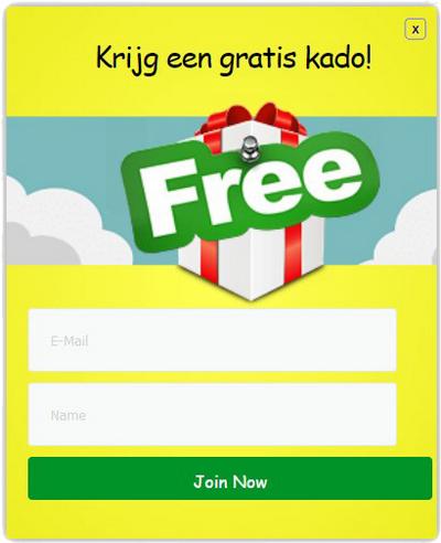 popup gratis kado
